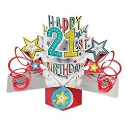 12 Bulk Happy 21 Birthday Pop Up Card -Stars