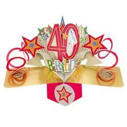 12 Bulk Happy 40th Birthday Pop Up Card -Stars