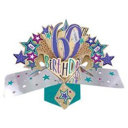 12 Bulk Happy 60th Birthday Pop Up Card -Stars