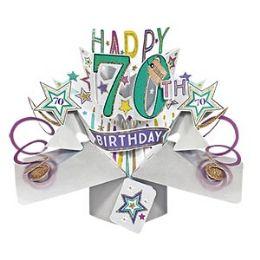 12 Bulk Happy 70th Birthday Pop Up Card -Stars
