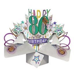 12 Bulk Happy 80th Birthday Pop Up Card -Stars