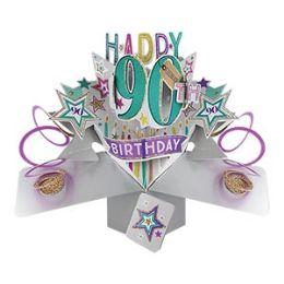 12 Bulk Happy 90th Birthday Pop Up Card -Stars