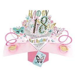 12 Bulk Happy 18th Birthday Pop Up Card -Butterflies