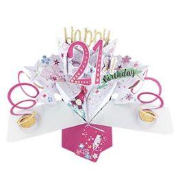 12 Bulk Happy 21 Birthday Pop Up Card -Bubbly