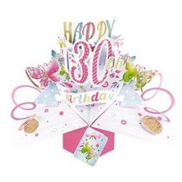 12 Bulk Happy 30th Birthday Pop Up Card -Butterflies