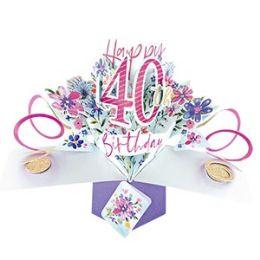 12 Bulk Happy 40th Birthday Pop Up Card -Flowers
