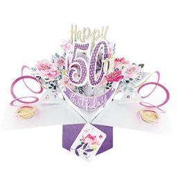 12 Bulk Happy 50th Birthday Pop Up Card -Flowers