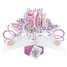 12 Bulk Happy 50th Birthday Pop Up Card -Butterflies