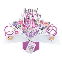12 Bulk Happy 60th Birthday Pop Up Card -Flowers