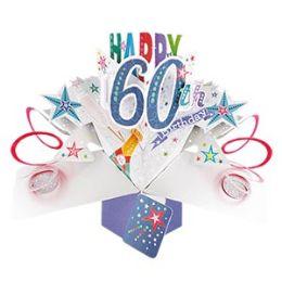 12 Bulk Happy 60th Birthday Pop Up Card -Bubbly