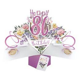 12 Bulk Happy 80th Birthday Pop Up Card -Flowers