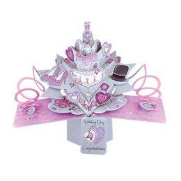 12 Bulk Congratulations Wedding Pop Up Card -Cake