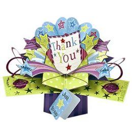 12 Bulk Thank You Pop Up Card -Stars