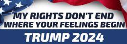 96 Bulk Trump 2024 Bumper Sticker My Rights Don't End