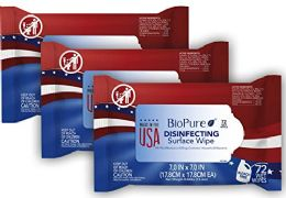 12 Bulk Biopure Made In The Usa Sanitizing Disinfectant Cleaning Wipes Epa Approved 72 ct