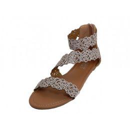 18 Bulk Women's Soft Floral Design Upper With Ankle Strip Sandals Beige Color