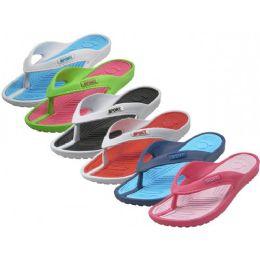 36 Bulk Women's Soft Comfortable Sport 2 Tone Colors Rubber Thong Sandals