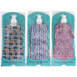40 Bulk Water Bottle 16oz Foldable Asst Designs Pp $1.99 Peggable