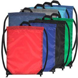 48 Bulk 18 Inch Basic Drawstring Bag - 8 Color Assortment