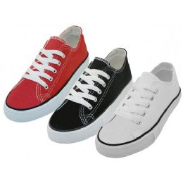 24 Bulk Youth's Comfortable Cotton Canvas Lace Up Shoes Assorted