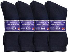 24 Bulk Yacht & Smith Women's Loose Fit NoN-Binding Soft Cotton Diabetic Crew Socks Size 9-11 Navy Bulk Pack