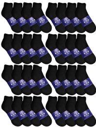 120 Bulk Yacht & Smith Womens Lightweight Cotton Sport Black Quarter Ankle Socks, Sock Size 9-11