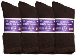 24 Bulk Yacht & Smith Women's Cotton Diabetic NoN-Binding Crew Socks - Size 9-11 Brown