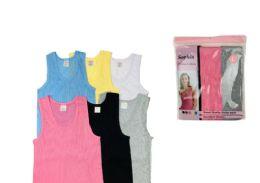 48 Bulk Ladies' Cotton Coloured A-Shirt