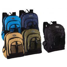 "24 Bulk 17"" Multi Compartment Bulk Backpacks In 5 Assorted Colors"