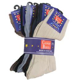 96 Bulk Boy's Nylon Dress Socks Assorted Color