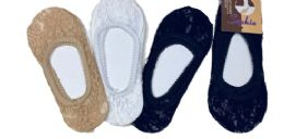 96 Bulk Ladies' Lace Foot Cover One Size Fits Most In Beige