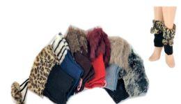 24 Bulk Ladies' Faux Fur Leg Warmer One Size