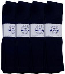 24 Bulk Yacht & Smith Men's Navy Cotton Terry Tube Socks,30 Inch Long Athletic Tube Socks, Size 10-13