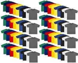 72 Bulk Kids Unisex Cotton Crew Neck T-Shirts, Assorted Sizes And Colors, Bulk Wholesale