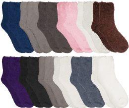 12 Bulk Yacht & Smith Women Fuzzy Socks Crew Socks, Warm Butter Soft, Neutral Colors (Size 9-11)