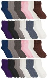 24 Bulk Yacht & Smith Women's Solid Colored Fuzzy Socks Assorted Neutral Colors, Size 9-11