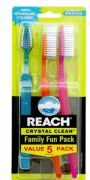 36 Bulk Reach Toothbrush Crystal Clean 5 Pack Medium