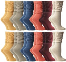 24 Bulk Yacht & Smith Slouch Socks For Women, Assorted Colors Size 9-11 - Womens Scrunchie Sock