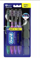 72 Bulk Oral B Toothbrush 4 Pack Cavity Defense Black With Cover