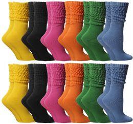 24 Bulk Yacht & Smith Slouch Socks For Women, Assorted Colors Size 9-11 - Womens Scrunchie Sock