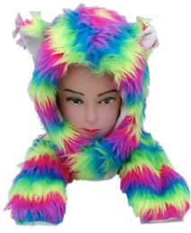 12 Bulk Soft Faux Fur Rainbow Animal Hat With Builtin Paws Mittens