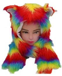 12 Bulk Rainbow Fur Animal Hat With Builtin Paws Mittens