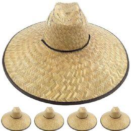 12 Bulk Large Brim Bamboo Straw Pescador Man Sun Hat