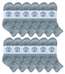 12 Bulk Yacht & Smith Womens Lightweight Cotton Sport Gray Quarter Ankle Socks, Sock Size 9-11