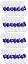 36 Bulk Yacht & Smith Mens White Lightweight Cotton No Show Ankle Socks, Sock Size 10-13