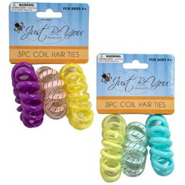 48 Bulk Hair Tie 3pk Coiled Tpu Solid/stripe/transparent Perset