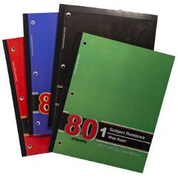 72 Bulk Notebook 1 Subject Wide Ruled 80 Sheets 10-1/2 X 8 Assorted