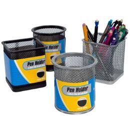 24 Bulk Pencil Pen Holder Iron Mesh Round/square Black/silver Stat