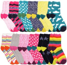 24 Bulk Yacht & Smith Women's Assorted Printed Fuzzy Socks Assorted Colors, Size 9-11