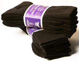 3 Bulk Yacht & Smith Men's Cotton Diabetic Non-Binding Crew Socks - Size 10-13 Brown